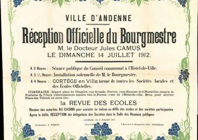 Carton relatif à la réception officielle du Bourgmestre Jules Camus le 14 juillet 1912.