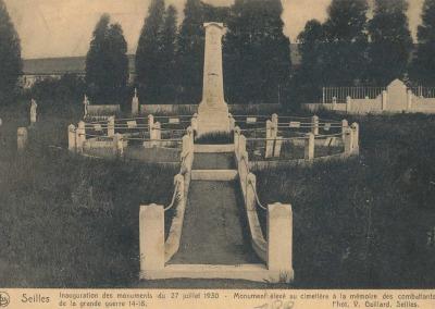 Monument élevé au cimetière de Seilles à la mémoire des combattants.