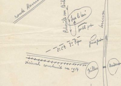 Plan de l'escarmouche du 8e de Ligne (A.E.N., Fonds Schmitz et Nieuwland).